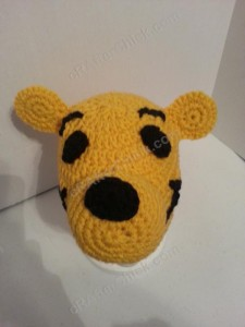 Winnie the Pooh Bear Beanie Hat Crochet Pattern Downward Front view
