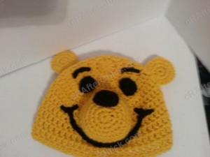 Winnie the Pooh Bear Beanie Hat Crochet Pattern Laying flat zoom out view