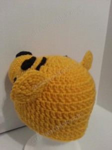 Winnie the Pooh Bear Beanie Hat Crochet Pattern Left Back view