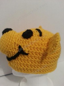 Winnie the Pooh Bear Beanie Hat Crochet Pattern Left Profile View