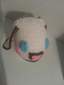 Cinnamoroll Cinnamon the Puppy Character Beanie Hat Crochet Pattern Down View