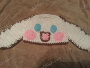 Cinnamoroll Cinnamon the Puppy Character Beanie Hat Crochet Pattern laying flat profile pattern view