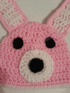 Easy Anime Inspired Bunny Beanie Hat Crochet Pattern Face Close Up