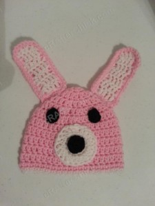 Easy Anime Inspired Bunny Beanie Hat Crochet Pattern Front View