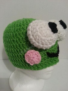 Keroppi the Frog Beanie Hat Crochet Pattern Front Right Side view