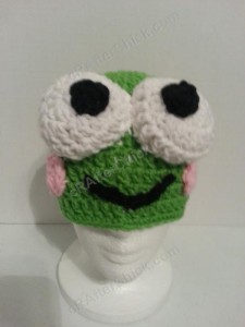 Keroppi the Frog Beanie Hat Crochet Pattern Front View