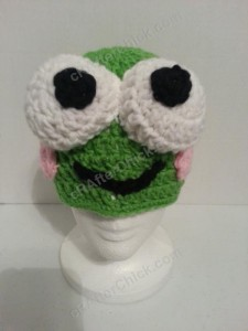 Keroppi the Frog Beanie Hat Crochet Pattern Front View Zoom out