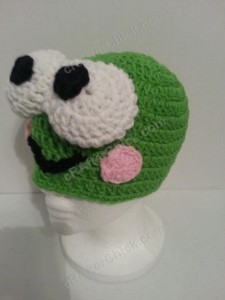 Keroppi the Frog Beanie Hat Crochet Pattern Left Front View