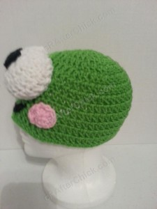 Keroppi the Frog Beanie Hat Crochet Pattern Left Side View