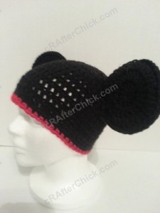 Mickey Mouse Oversized Ears Beanie Hat Crochet Pattern Front Left View