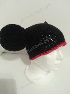 Mickey Mouse Oversized Ears Beanie Hat Crochet Pattern Front Right View