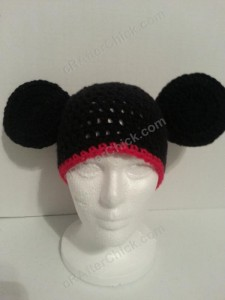 Mickey Mouse Oversized Ears Beanie Hat Crochet Pattern Front View