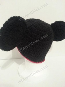 Mickey Mouse Oversized Ears Beanie Hat Crochet Pattern Left Back View