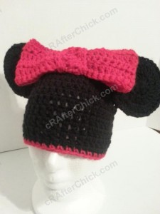 Minnie Mouse Oversized Ear and Bow Beanie Hat Crochet Pattern Front Left View