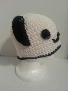 Pankun the Panda Character Beanie Hat Crochet Pattern Right side profile view