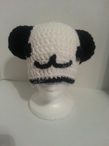 Pankun the Panda Character Beanie Hat Crochet Pattern frontal view