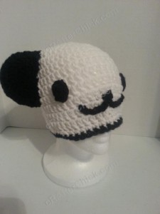 Pankun the Panda Character Beanie Hat Crochet Pattern side front view