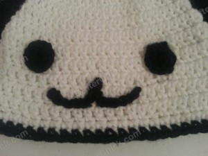 Pankun the Panda Character Beanie Hat Crochet Pattern zoom in on face