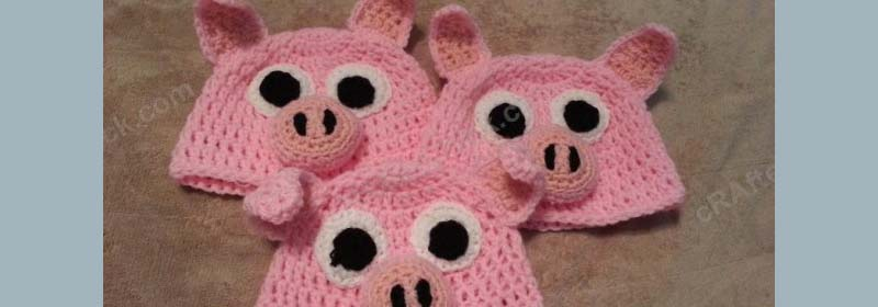 Three Little Pig(gie)s Beanie Hat Set Crochet Pattern