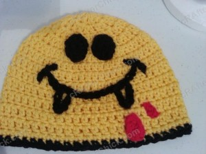 Vampire Fanged Smiley Face Character Beanie Hat Crochet Pattern