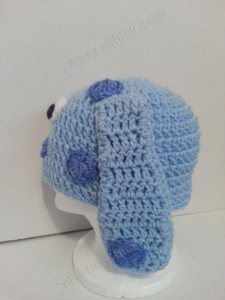 Blues Clues Puppy Character Beanie Hat Crochet Pattern Left Profile