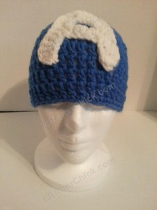 Captain America Superhero Beanie Hat Crochet Pattern Front View