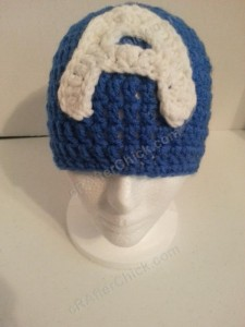 Captain America Superhero Beanie Hat Crochet Pattern Forward View