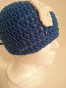 Captain America Superhero Beanie Hat Crochet Pattern Right Front View