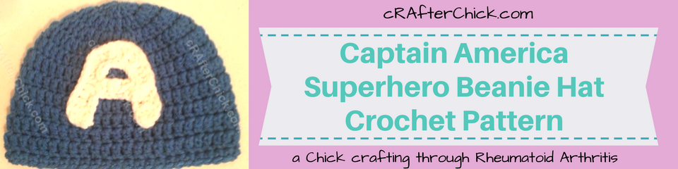 Captain America Superhero Beanie Hat Crochet Pattern_ a chick crafting through Rheumatoid Arthritis cRAfterChick.com