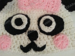 Chibi Baby Girl Panda Beanie Hat Crochet Pattern Closeup on Face Features