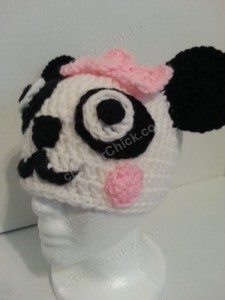 Chibi Baby Girl Panda Beanie Hat Crochet Pattern Front Left View
