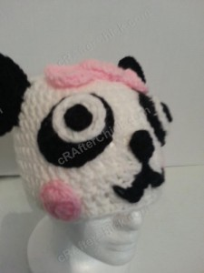 Chibi Baby Girl Panda Beanie Hat Crochet Pattern Front Right View