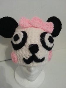 Chibi Baby Girl Panda Beanie Hat Crochet Pattern Front View