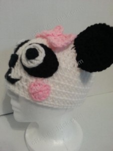 Chibi Baby Girl Panda Beanie Hat Crochet Pattern Left Profile View