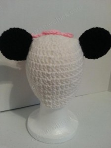 Chibi Baby Girl Panda Beanie Hat Crochet Pattern Rear View