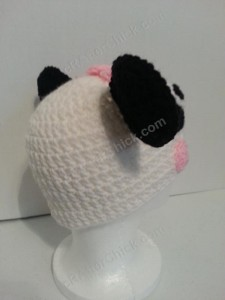 Chibi Baby Girl Panda Beanie Hat Crochet Pattern Right Back View