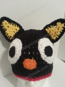 Chococat the Black Cat Character Hat Crochet Pattern Closeup View