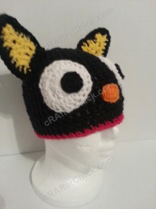 Chococat the Black Cat Character Hat Crochet Pattern Front Right View