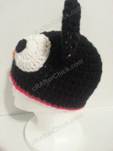 Chococat the Black Cat Character Hat Crochet Pattern Left Profile View