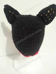 Chococat the Black Cat Character Hat Crochet Pattern Rear View