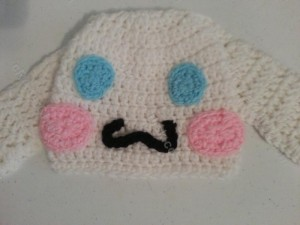 Cinnamoroll the White Puppy Character Beanie Hat Crochet Pattern Closeup View