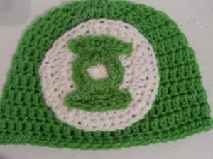 Green Lantern Superhero Logo Beanie Hat Crochet Pattern Closeup