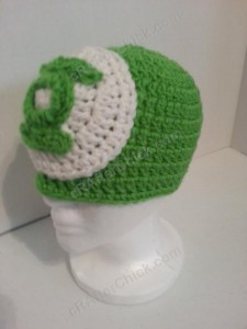 Green Lantern Superhero Logo Beanie Hat Crochet Pattern Front Left View