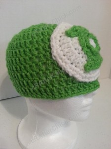 Green Lantern Superhero Logo Beanie Hat Crochet Pattern Front Right View