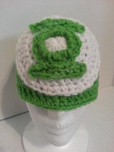 Green Lantern Superhero Logo Beanie Hat Crochet Pattern Frontal View
