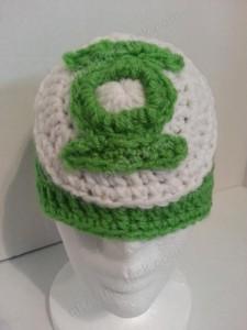 Green Lantern Superhero Logo Beanie Hat Crochet Pattern Frontal View