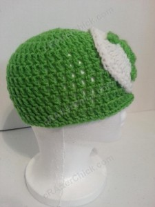 Green Lantern Superhero Logo Beanie Hat Crochet Pattern Right Profile View