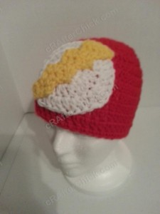 The Flash Superhero Beanie Hat Crochet Pattern Front Left View