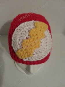The Flash Superhero Beanie Hat Crochet Pattern Downward View