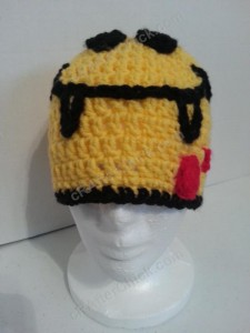 Vampire Fanged Smiley Face Character Beanie Hat Crochet Pattern Front View